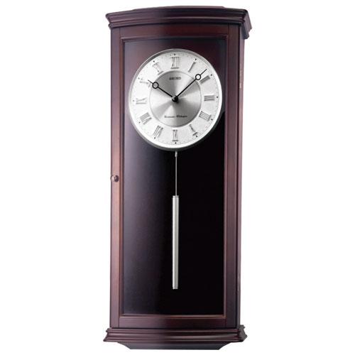 Horloge murale analogique avec carillon Westminster de Seiko (QXH025B) - Brun moyen