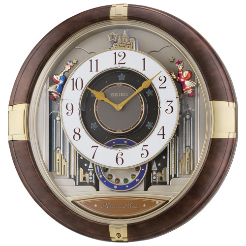 Seiko Melodies in Motion Analog Wall Clock (QXM333B) - Brown