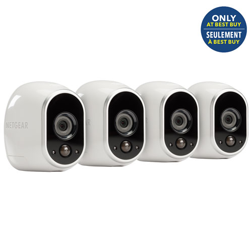 NETGEAR Arlo Wireless Security System with 4 Wire-Free 720p Cameras - White