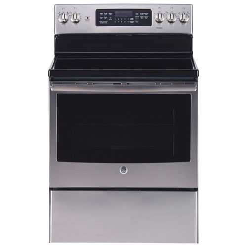 """GE 30"""" 5.0 Cu. Ft. True Convection Freestanding Electric Range - Stainless Steel"""
