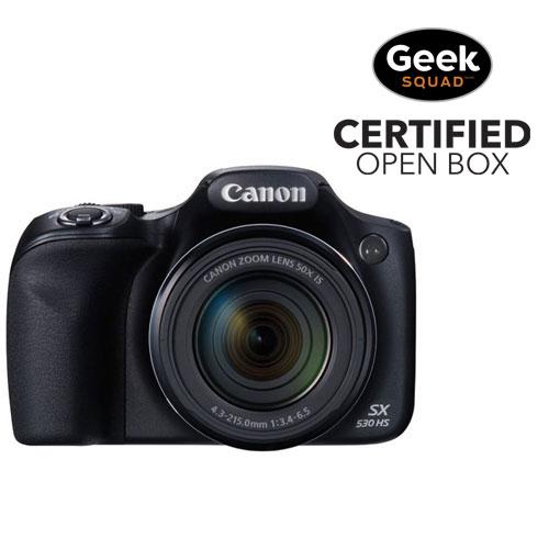 App. photo num. PowerShot SX530 Wi-Fi 16 Mpx et zoom optique 50x de Canon - Noir - Boîte ouverte
