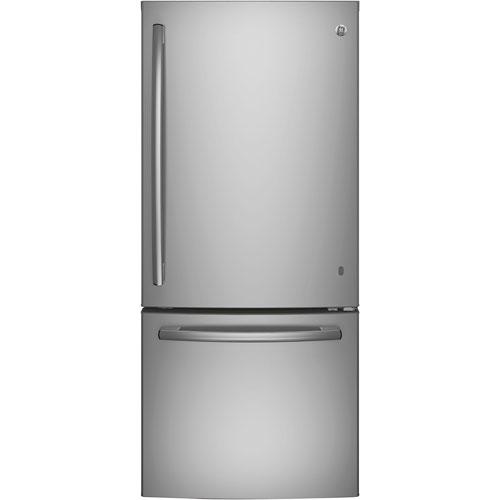 ge 30 20 9 cu ft bottom freezer refrigerator with led lighting gde21dskss stainless steel. Black Bedroom Furniture Sets. Home Design Ideas