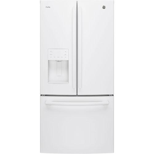 Réfrigérateur 2 portes 23,8 pi3 33 po distributeur d'eau et glaçons Profile GE (PFE24JGKWW) - Blanc