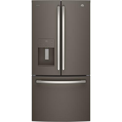 Réfrigérateur 2 portes 23,8 pi3 33 po distributeur d'eau et glaçons Profile GE (PFE24JMKES) -Ardoise