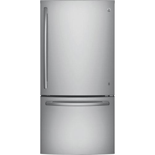 "GE 33"" 24.9 Cu. Ft. Bottom Freezer Refrigerator with Ice Dispenser - Stainless Steel"
