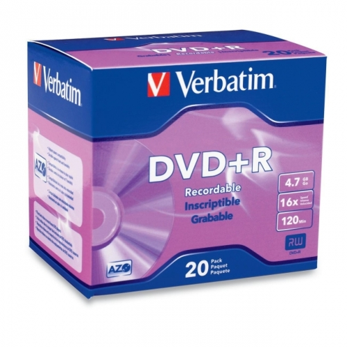 Verbatim AZO DVD+R 4.7GB 16X with Branded Surface - 20pk Slim Case