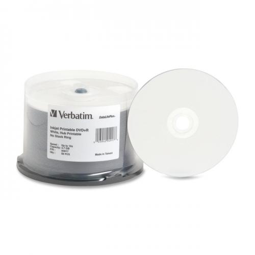 Verbatim DVD+R 4.7GB 16X DataLifePlus White Inkjet Printable, Hub Printable - 50pk Spindle