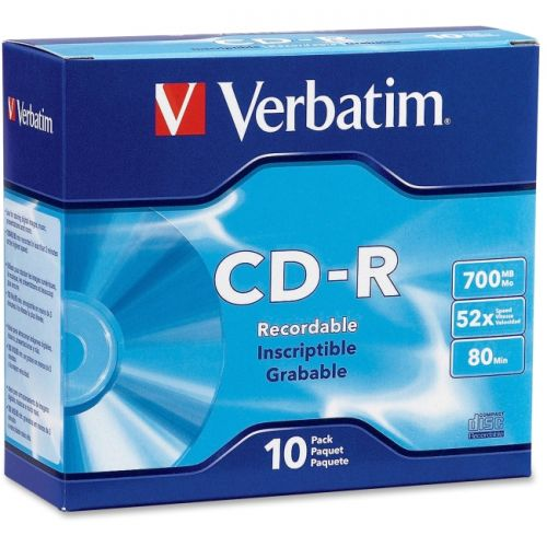 Verbatim CD-R 700MB 52X with Branded Surface - 10pk Slim Case