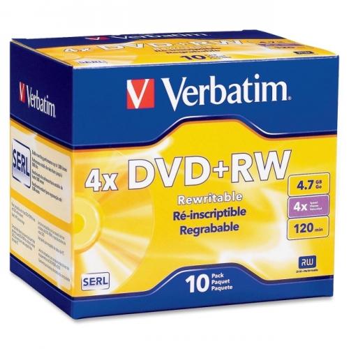 Verbatim DVD+RW 4.7GB 4X with Branded Surface - 10pk Jewel Case