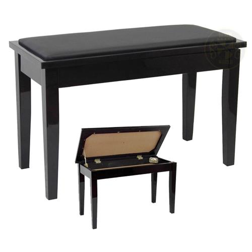 "Benchworld ACE202CPE Duet Piano Bench - 30"", Padded, with Storage, Polished Ebony"