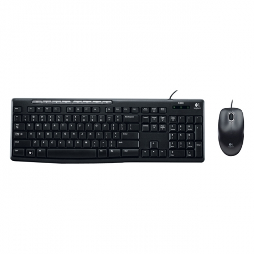 Logitech MK200 Wired USB Keyboard and Mouse - Black
