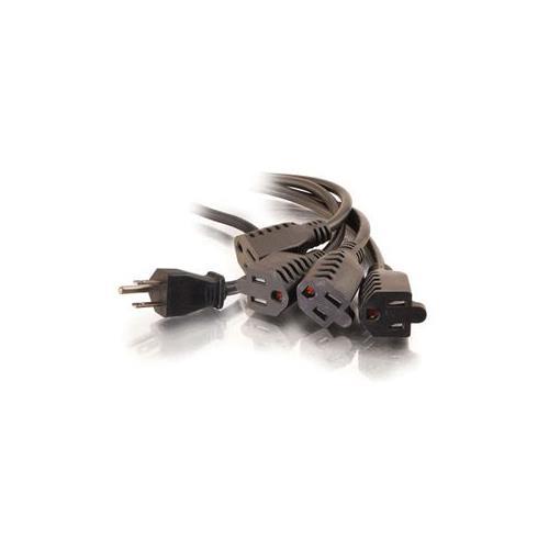 C2G 18in 16 AWG 1-to-4 Power Cord Splitter (1 NEMA 5-15P to 4 NEMA 5-15R)