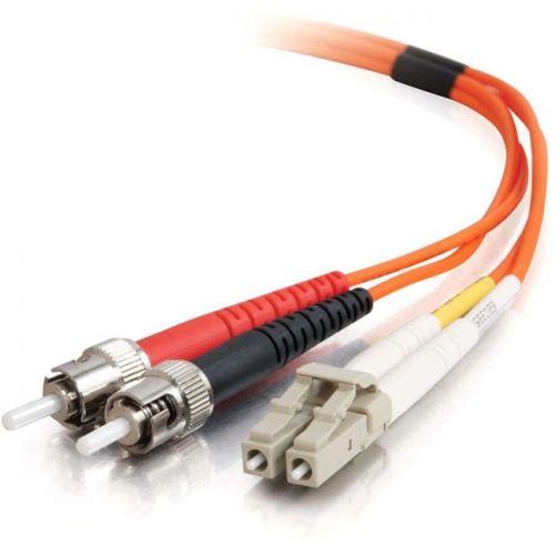 5m LC-ST 50/125 OM2 Duplex Multimode PVC Fiber Optic Cable - Orange