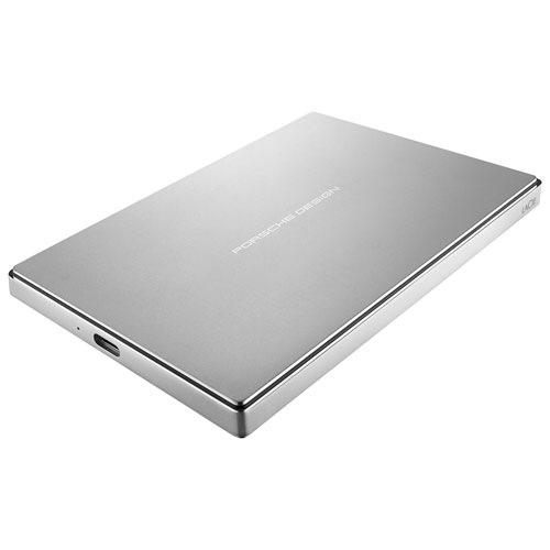 """LaCie Porsche 1TB 2.5"""" USB-C Portable External Hard Drive (STFD1000402) - Silver"""