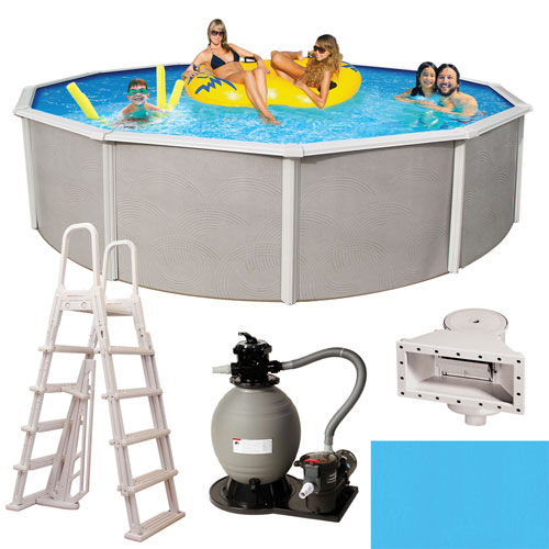 Blue Wave Belize Above Ground 27ft Round Pool - 48in