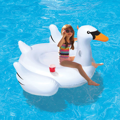 Blue Wave Elegant Giant Swan 6 ft. Inflatable Pool Ride-On Float - White