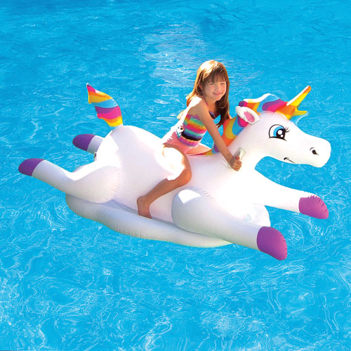 Blue Wave Unicorn Inflatable Pool Ride-On Float - White
