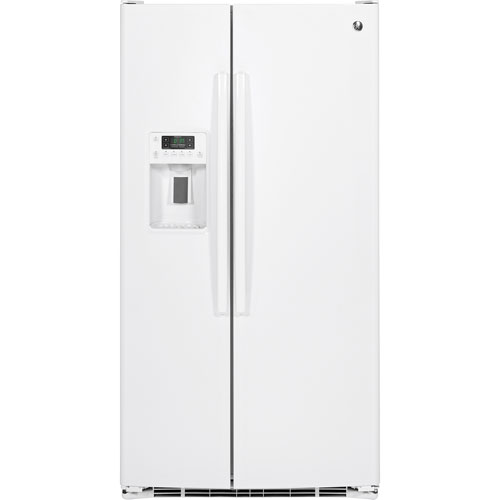 """GE Profile 36"""" 25.4 Cu. Ft. Side-By-Side Refrigerator (GSE25GGHWW) - White"""