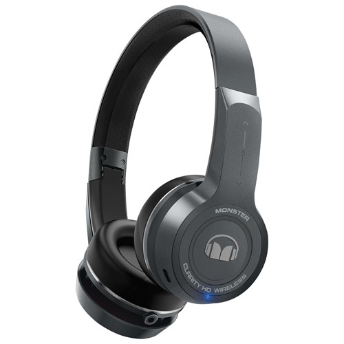 Casque d'écoute Bluetooth à isolation sonore Clarity de Monster - Gris