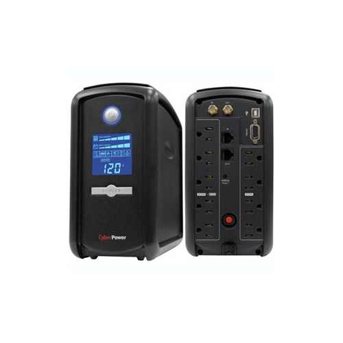 CyberPower 850 VA 510 Watts 9 Outlets LCD Automatic Voltage Regulator UPS (CP850AVRLCD)