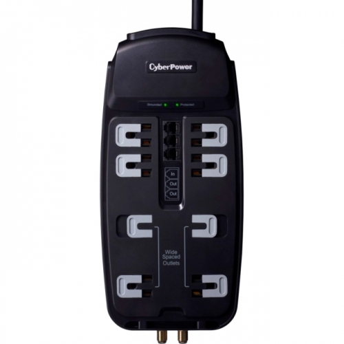 CyberPower CSHT808TC Home Theater 8-Outlets Surge Suppressor 8FT Cord and AV protection
