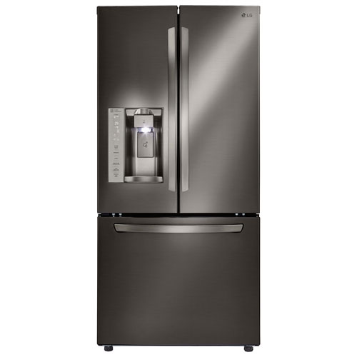 "LG 33"" 24.2 Cu. Ft. French Door Refrigerator with Water & Ice Dispenser (LFXS24623D)-Black Stainless"