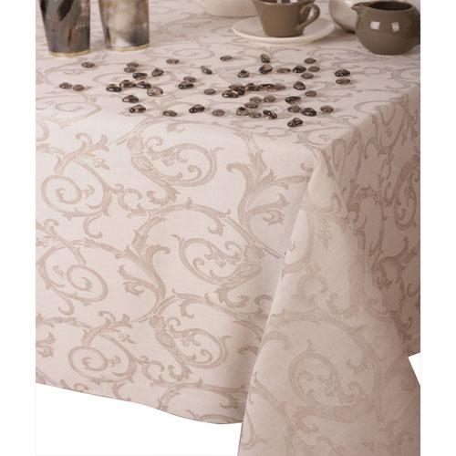"""St. Pierre Curia 67"""" x 144"""" Brocade Tablecloth - Ecru"""