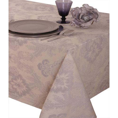 "St. Pierre Toledo 90"" x 90"" Brocade Round Tablecloth - Silver Grey"
