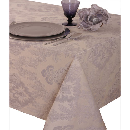 "St. Pierre Toledo 70"" x 90"" Brocade Tablecloth - Silver Grey"