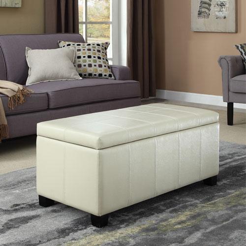 pouf de rangement en similicuir dover cr me satin e poufs best buy canada. Black Bedroom Furniture Sets. Home Design Ideas