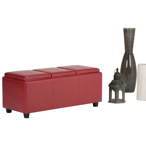 Incredible Avalon Tray Top Storage Ottoman Bench Red Evergreenethics Interior Chair Design Evergreenethicsorg