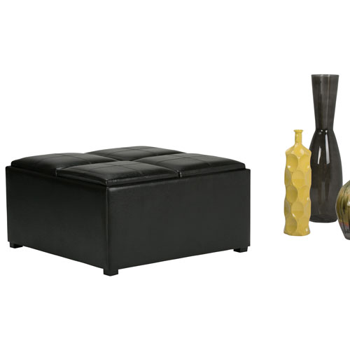 Avalon Transitional Coffee Table Storage Ottoman Black