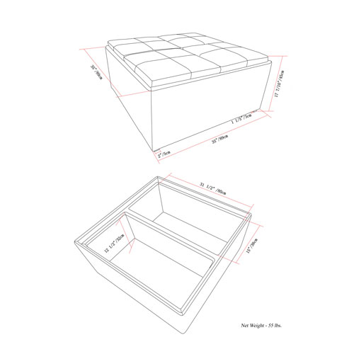 Pouf/table basse avec espace de rangement Avalon - Gris ardoise