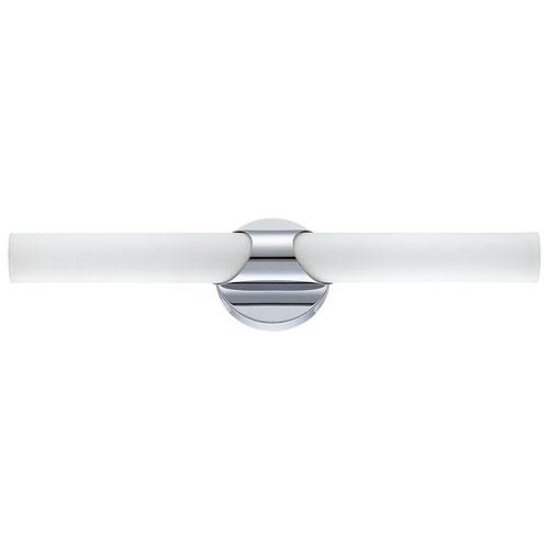 Aurora Lightning 2-Light Bath Vanity - Gloss White Glass/Chrome