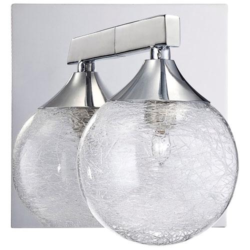 Luminaire de salle de bain mural - Fibre de verre - Transparent - Chromé