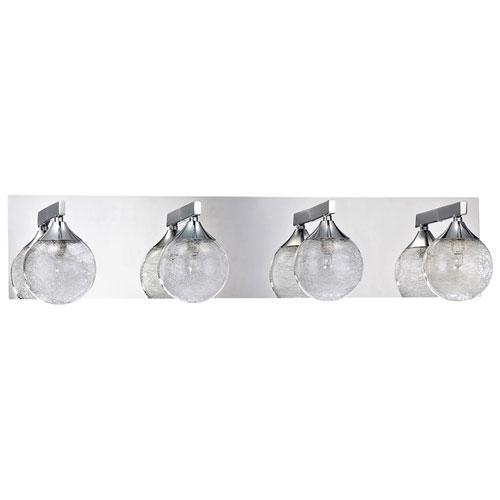 4-Light Bath Vanity Wall Fixture - Glass Fibers/Clear/Chrome