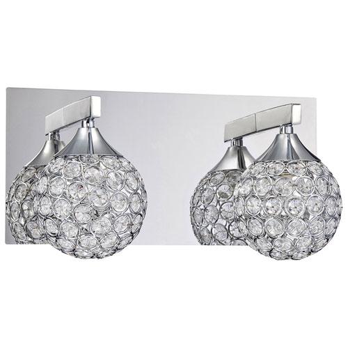 Luminaire de salle de bain mural à 2 ampoules - Chromé - Cristal optique