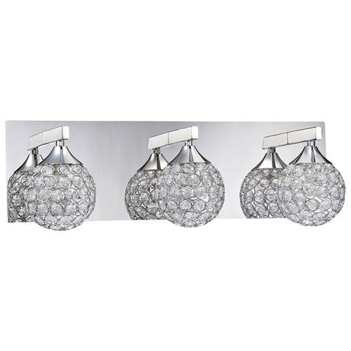 3-Light Bath Vanity Wall Fixture - Chrome/Optic Crystal