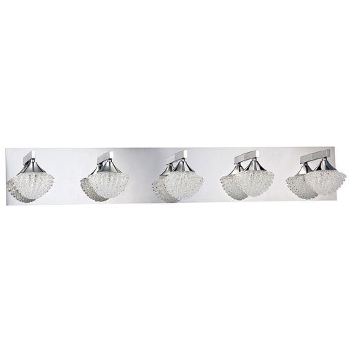 5-Light Bath Vanity Wall Fixture - Chrome/Curled Ice