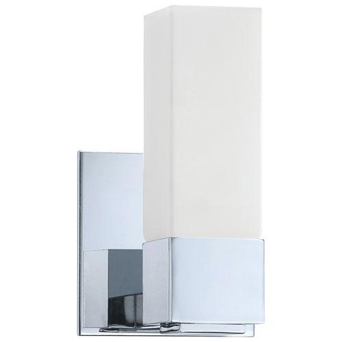 Luminaire de salle de bain à une seule ampoule d'Aurora Lighting - Verre blanc - Chromé