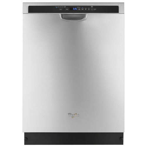 "Whirlpool 24"" 50dB Built-In Dishwasher with Stainless Steel Tub - Monochromatic Stainless Steel"