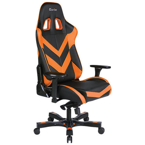 Clutch Chairz Throttle Charlie Faux Leather Gaming Chair - Orange/Black