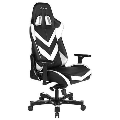 Fauteuil de jeu de course ergonomique en similicuir Throttle Charlie de Clutch Chairz -Blanc-Noir