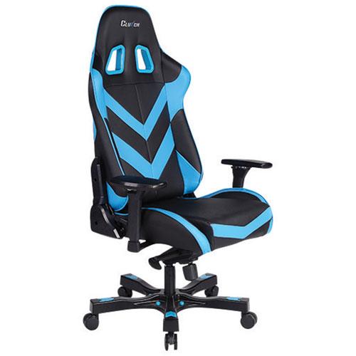 Fauteuil de course ergonomique en similicuir Throttle Charlie de Clutch Chairz - Bleu-noir