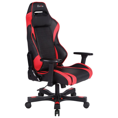 Clutch Chairz Gear Alpha Ergonomic Faux Leather Racing Gaming Chair - Red/Black