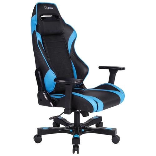 Fauteuil de course ergonomique en similicuir Gear Alpha de Clutch Chairz - Bleu-noir