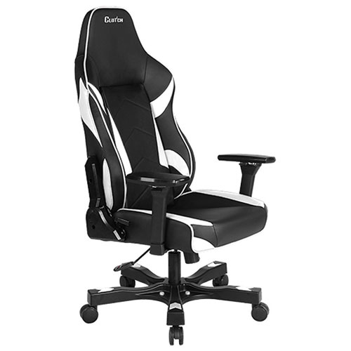 Clutch Chairz Shift Bravo Ergonomic Faux Leather Racing Gaming Chair - White/Black