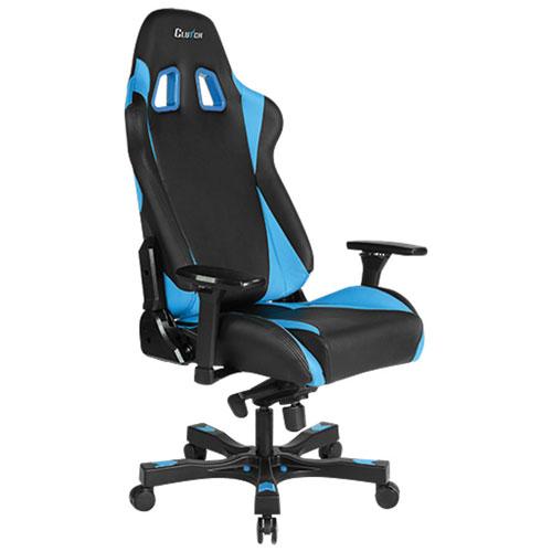 Fauteuil de course ergonomique en similicuir Throttle Alpha de Clutch Chairz - Bleu-noir