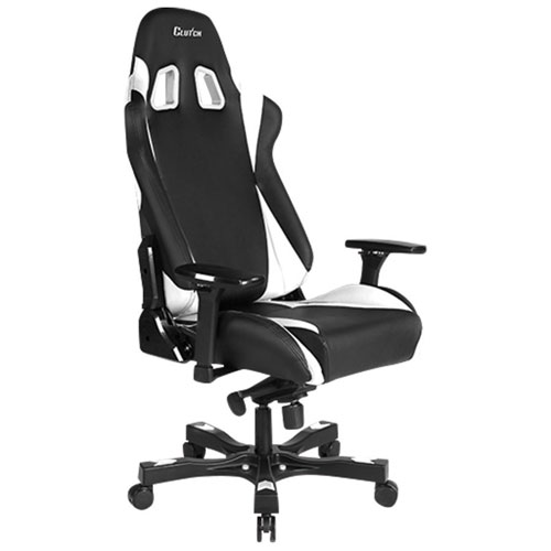 Fauteuil de course ergonomique en similicuir Throttle Alpha de Clutch Chairz - Blanc-noir