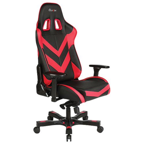 Clutch Chairz Throttle Charlie Ergonomic Faux Leather Racing Gaming Chair - Red/Black